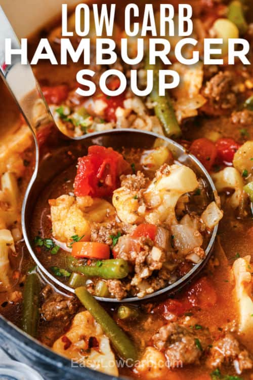 Hamburger Soup in the pot with writing
