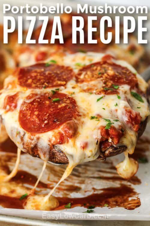 Portobello Mushroom Pizza with writing