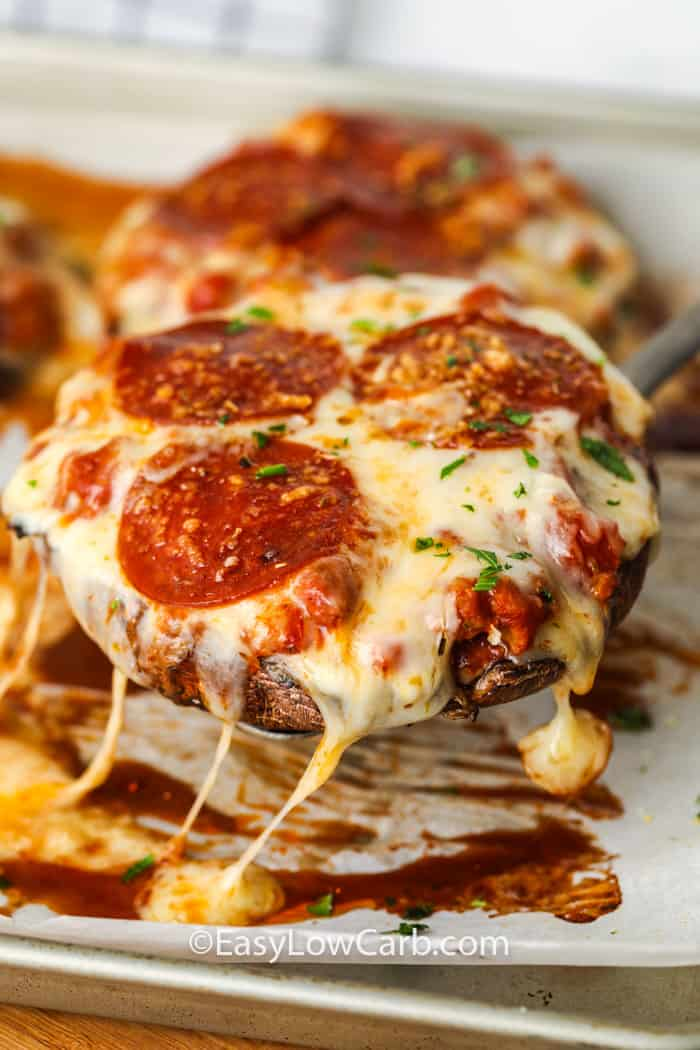 close up of Portobello Mushroom Pizza on a baking sheet