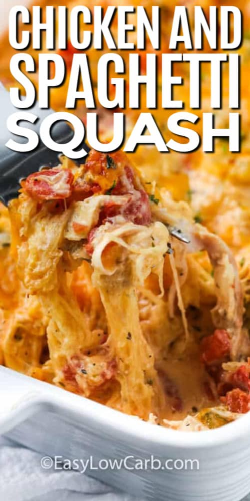 spaghetti squash and chicken served in a white casserole dish, with a fork full of the casserole being pulled up, with a title