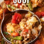 close up of cooked Hamburger Soup in the pot with a title