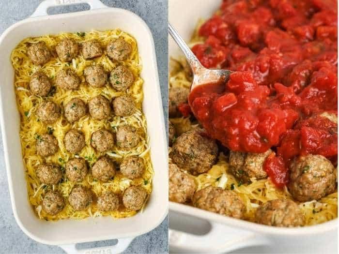 process of adding meatballs and sauce to dish to make Spaghetti Squash Casserole