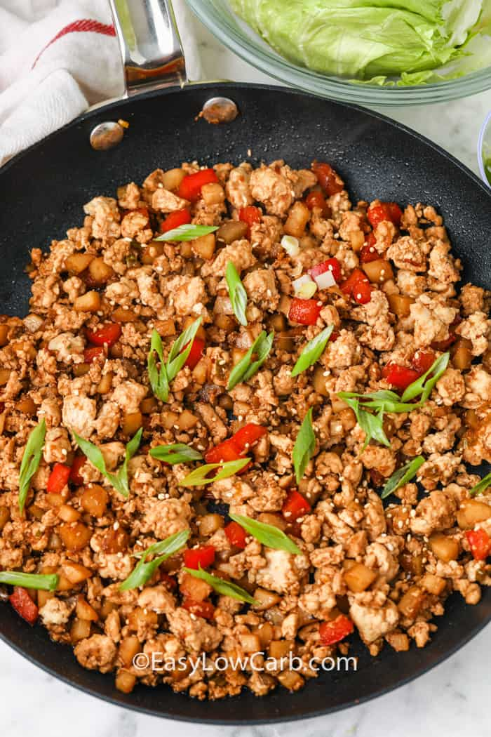 filling for Chicken Lettuce Wraps cooking in the pan