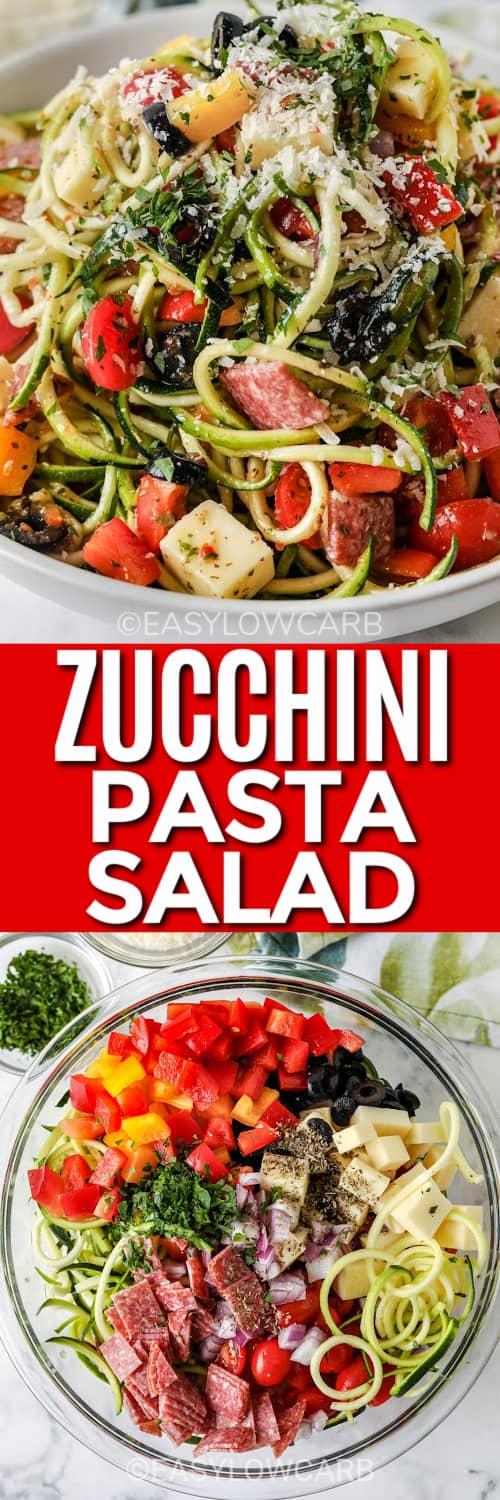 Italian zucchini salad in a white bowl, and ingredients assembled under the title.