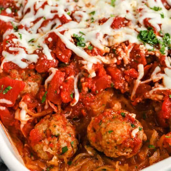 Spaghetti Squash Casserole in a casserole dish