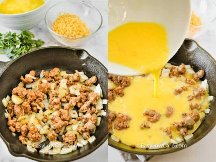 process of adding ingredients to pan to make Cheesy Chorizo Frittata
