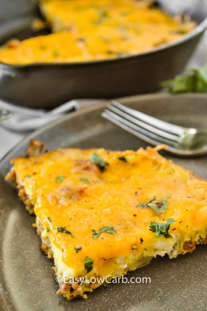 Cheesy Chorizo Frittata on a plate with a fork