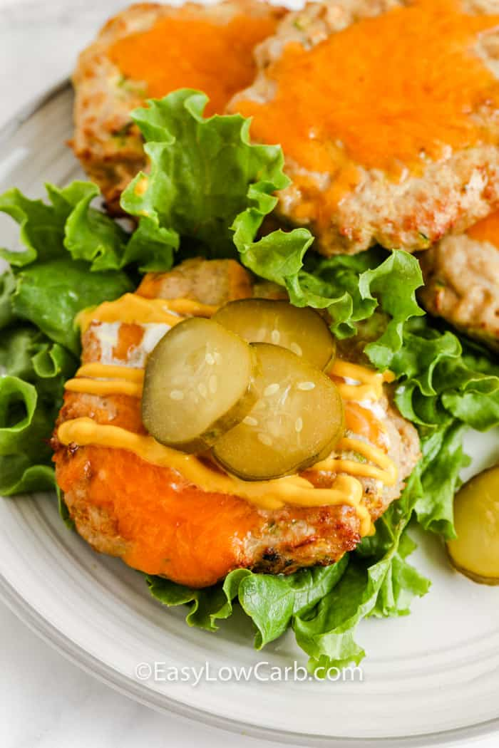 open Easy Turkey Burgers on a plate