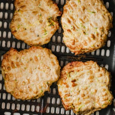 close up of air fryer Easy Turkey Burgers