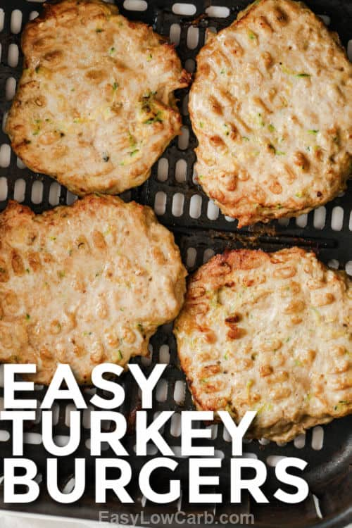 close up of Easy Turkey Burgers with a title