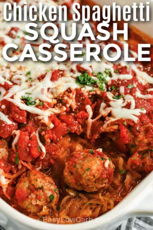 Spaghetti Squash Casserole in a dish with writing