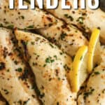 Low Carb Chicken Tenders with writing