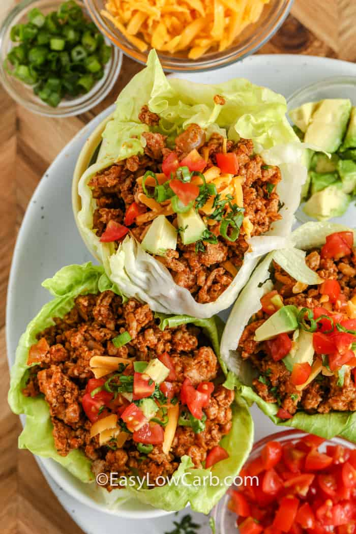 top view of plated Taco Lettuce Wraps