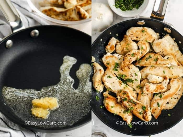 process of adding ingredients to pan to make Garlic Butter Chicken Bites
