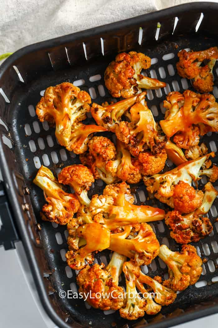 Buffalo Cauliflower Air Fryer Recipe in the air fryer after cooking