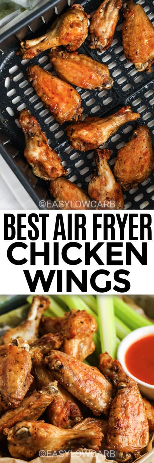 Air Fryer Crispy Chicken Wings in the air fryer and plated with a title