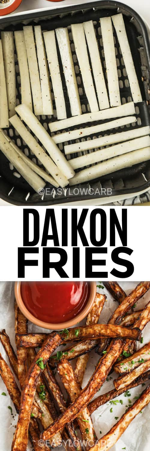 Air Fryer Daikon Fries in the air fryer and plated with a title