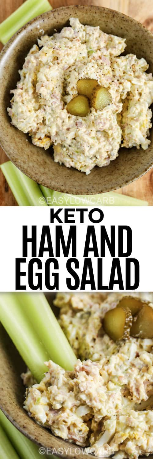 Deviled Ham & Egg Salad in a bowl with celery and pickles with a title