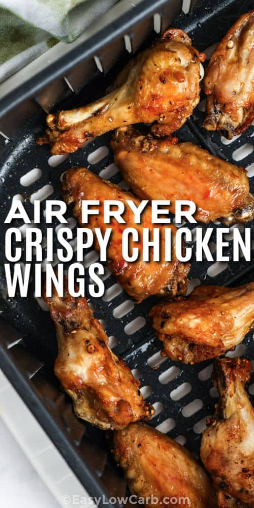 Air Fryer Crispy Chicken Wings with writing