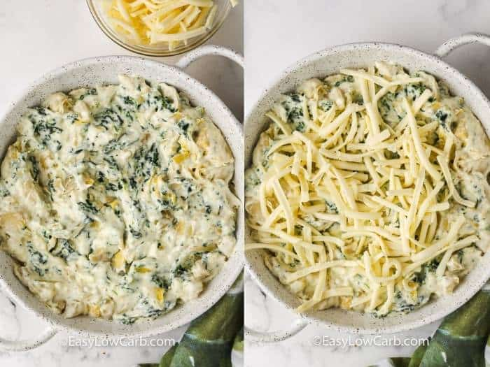 adding cheese to Baked Spinach Artichoke Dip