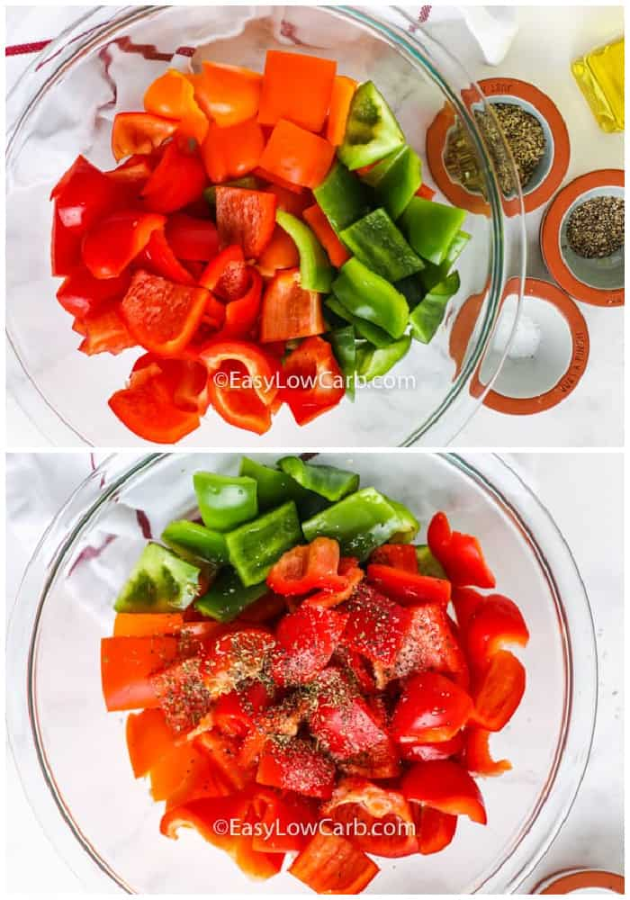 Cut cut up peppers in a glass bowl with spices on the side and all ingredients to make Roasted Bell Peppers in a glass bowl