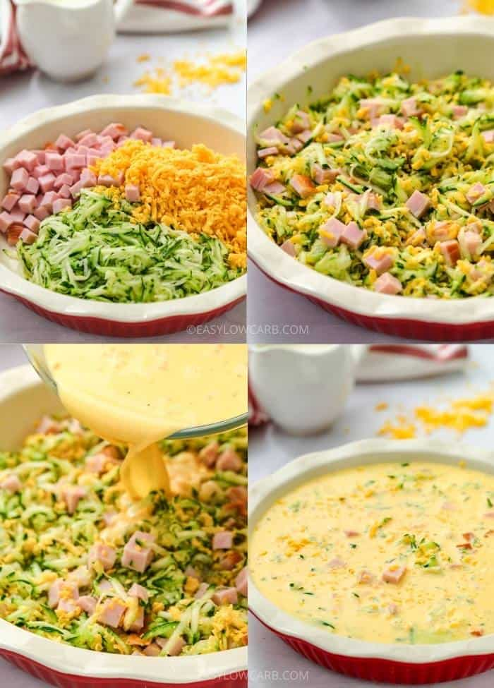 process of adding ingredients to dish to make Crustless Ham and Cheese Quiche
