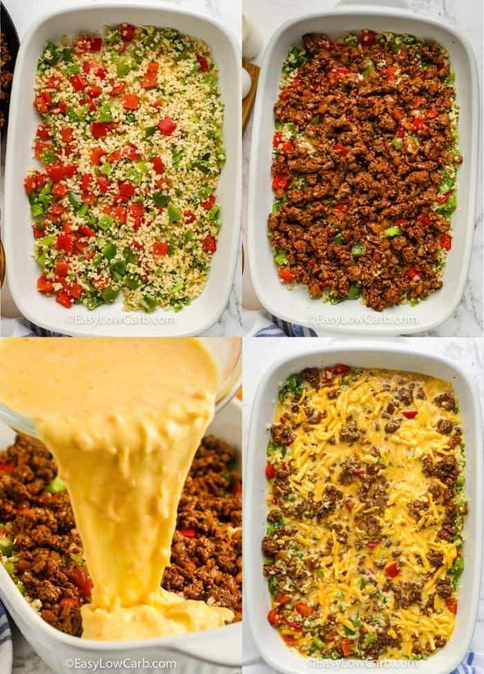 process of adding ingredients to pan to make Low Carb Taco Casserole