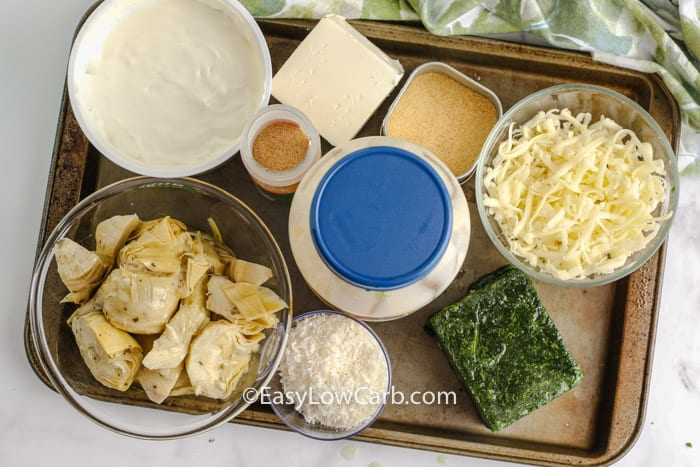 ingredients to make Baked Spinach Artichoke Dip