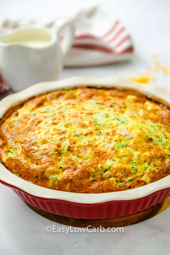 cooked Crustless Ham and Cheese Quiche in the dish