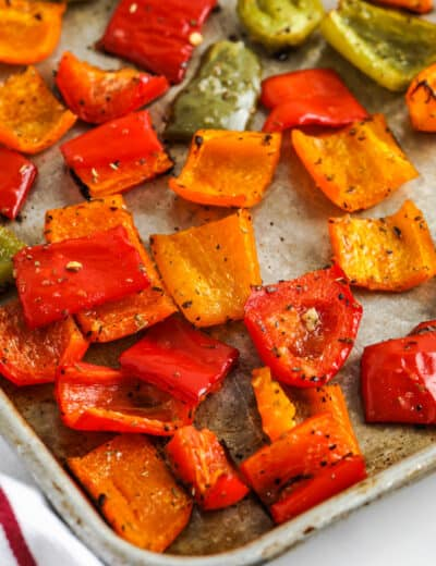 close up of cooked Roasted Bell Peppers on a baking sheet