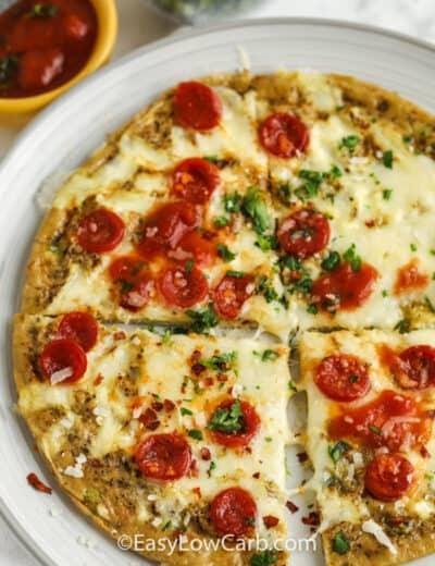 Keto Breakfast Pizza on a plate