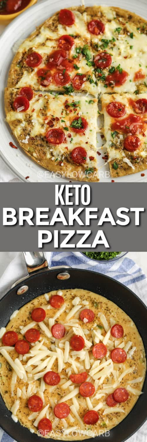 cooking Keto Breakfast Pizza in the pan and plated dish with a title
