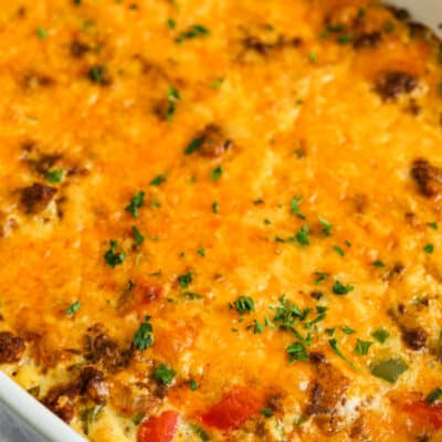 Low Carb Taco Casserole cooked in a dish