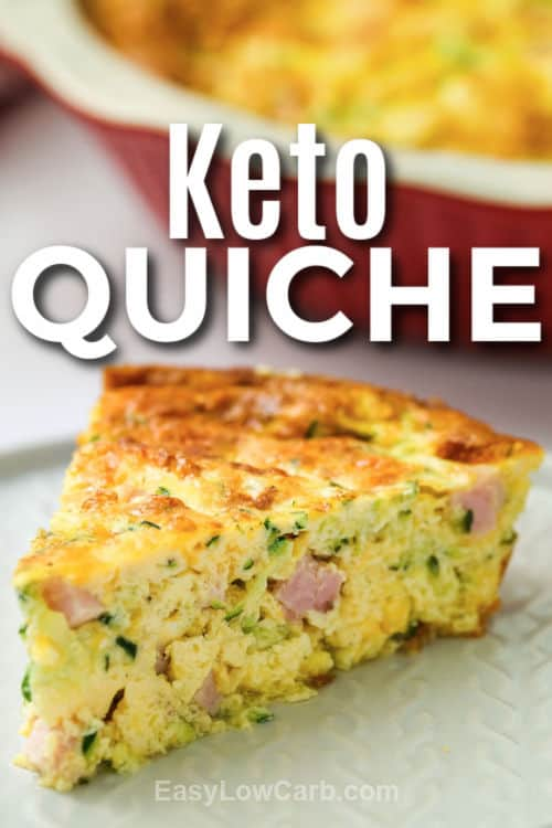 plated Crustless Ham and Cheese Quiche with a title