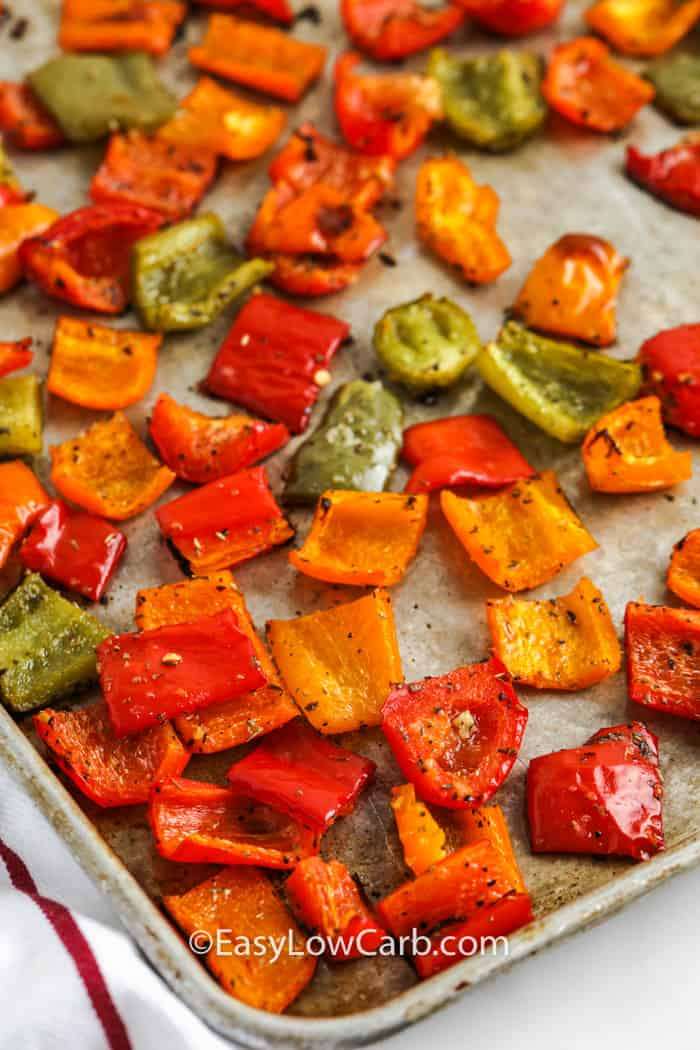cooked Roasted Bell Peppers on a baking sheet