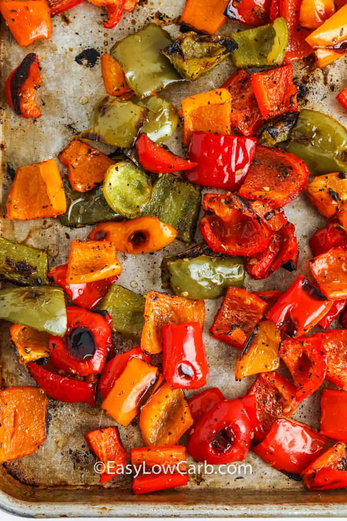 top view of Roasted Bell Peppers on a baking sheet