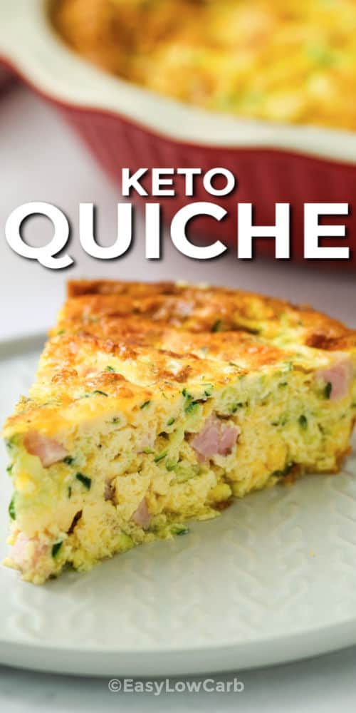 plated Crustless Ham and Cheese Quiche with writing