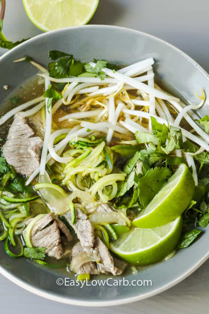 top view of Zucchini Noodle Pho