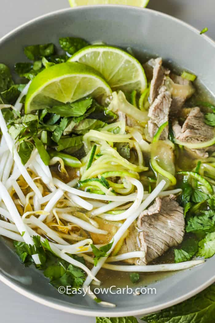 Zucchini Noodle Pho in a dish