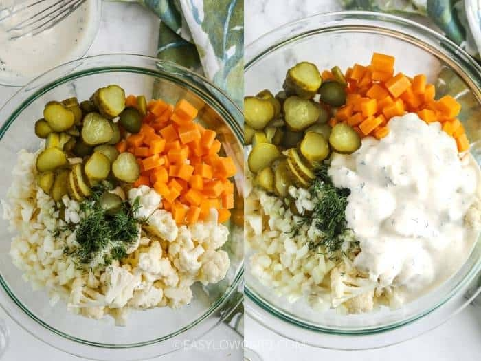process of adding ingredients to glass bowl to make Dill Pickle Salad with Cauliflower