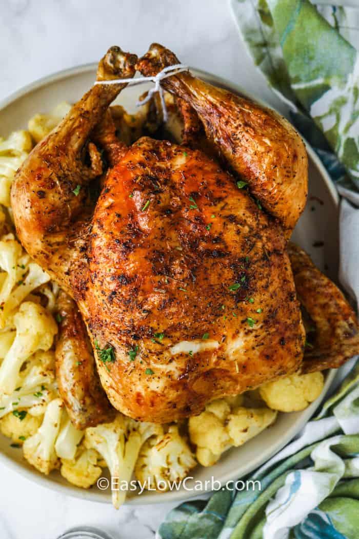 plated Air Fryer Roast Chicken with cauliflower