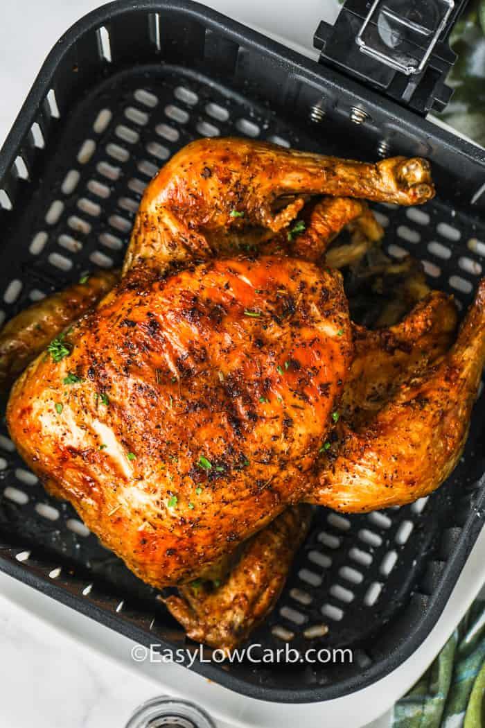 Air Fryer Roast Chicken in the air fryer