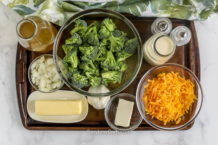 Ingredients to make Homemade Broccoli Cheddar Soup