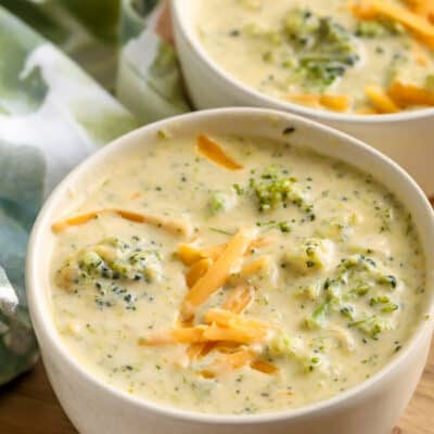 Two bowls of Homemade Broccoli Cheddar Soup