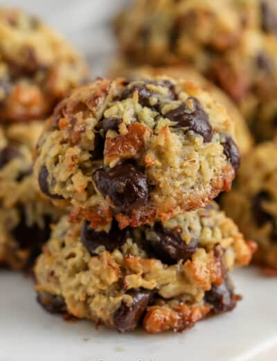 Two Chocolate Coconut Cookies on top of one another