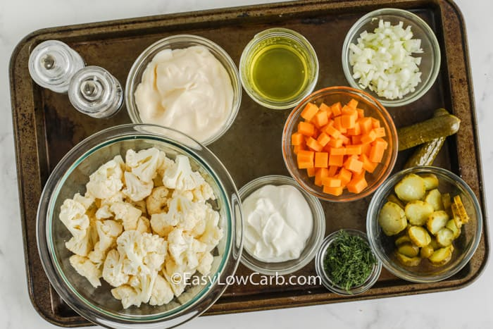 ingredients to make Dill Pickle Salad with Cauliflower