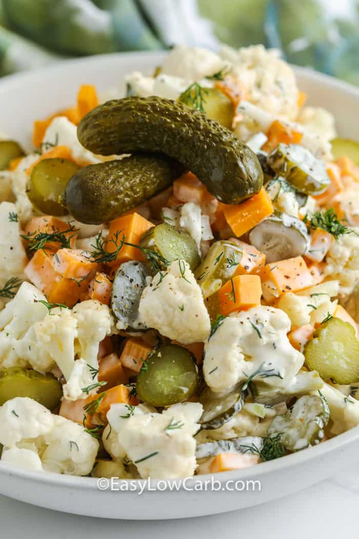close up of Dill Pickle Salad with Cauliflower