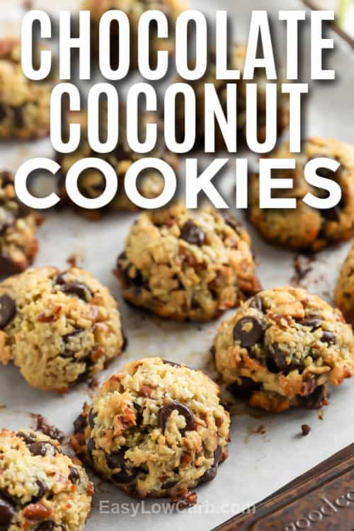 Two Chocolate Coconut Cookies on a baking sheet with a title