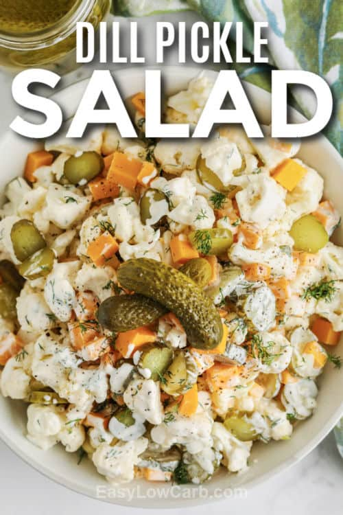 plated Dill Pickle Salad with Cauliflower with writing