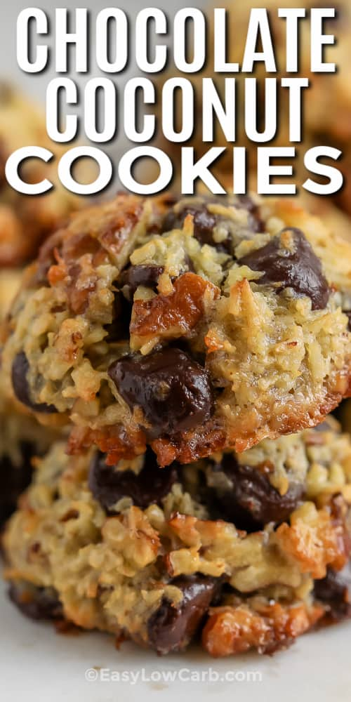 Two Chocolate Coconut Cookies on top of one another with a title